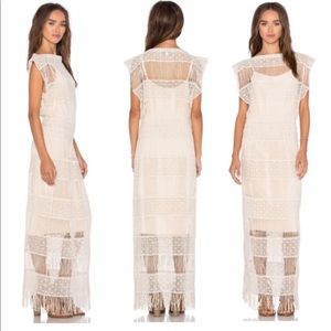 Anthropologie Callahan Cream Crochet Boho Dress